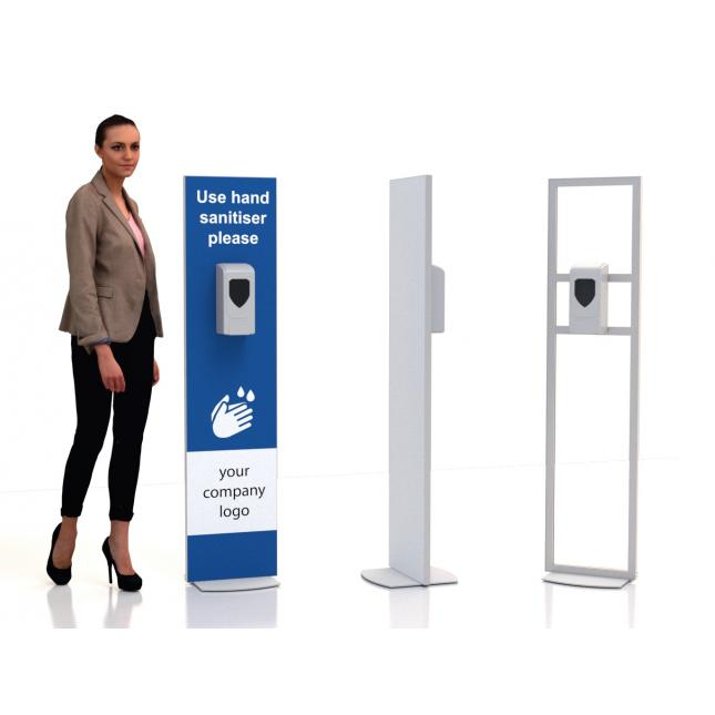Single sided floor standing sanitiser stand non touch