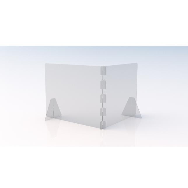 L shape simple perspex screen 900mm w x 800mm d