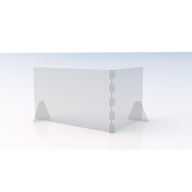 L shape simple perspex screen 1200mm w x 800mm d