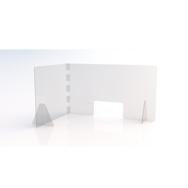 L shape Simple perspex screen with envelope slot 1200mm w x 800mm d