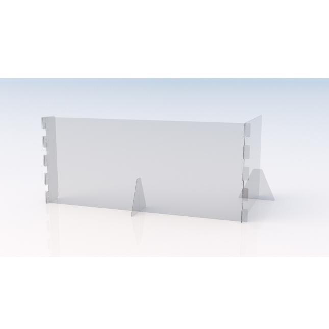 L shape Simple perspex screen 1600mm w x 600mm d