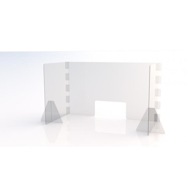 1200mm wide x 600mm deep u shaped simple perspex screen with envelope slot