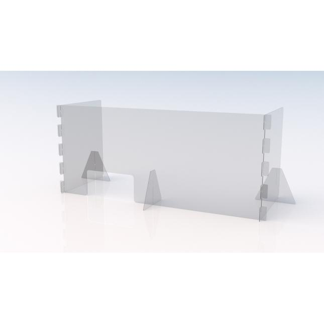 1600mm wide x 600mm deep u shaped simple perspex screen with envelope slot