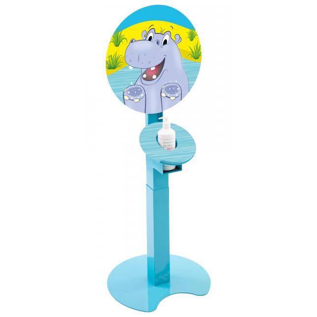 Kids sanitiser stand with Hippo design