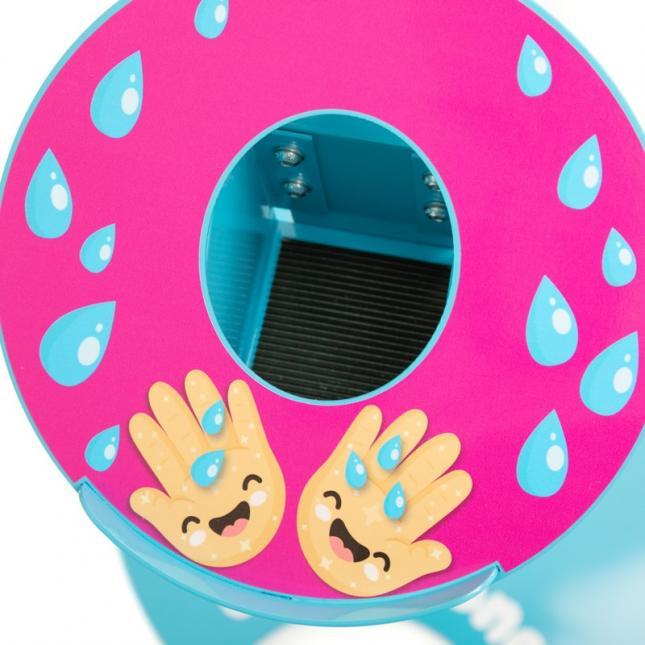 Close up of bottle enclose for kids sanitiser stand