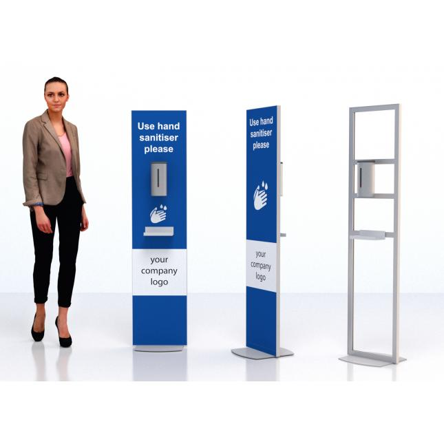 Floor standing sanitiser stand with stainless steel dispenser double sided