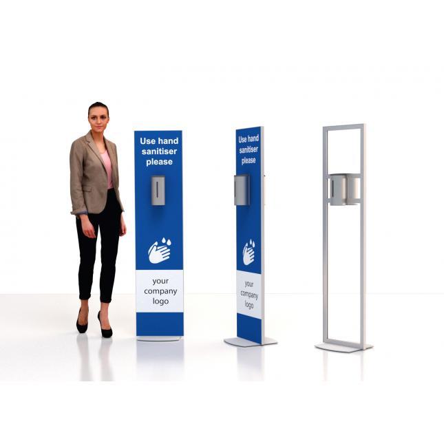 Floor standing sanitiser stand with stainless steel dispenser double sided dispenser stainless