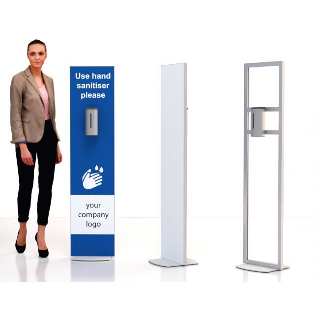 Non touch stainless steel automatic dispenser stand single sided print