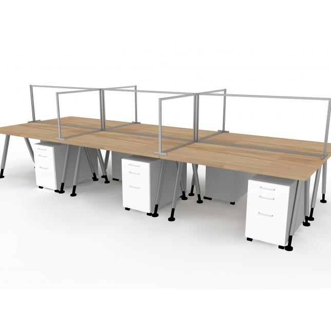 6 person office desks social distancing screen