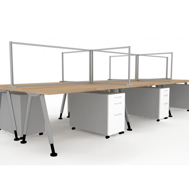Multi desk protective screen for offices