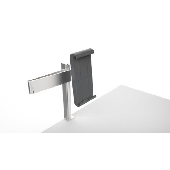 Extendable arm on universal tablet holder desk mounted