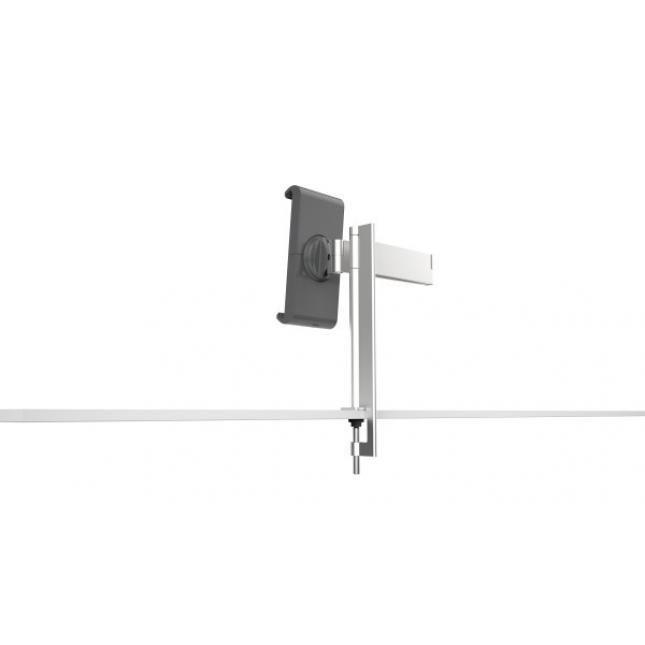 Extendable arm on universal tablet holder desk counter top
