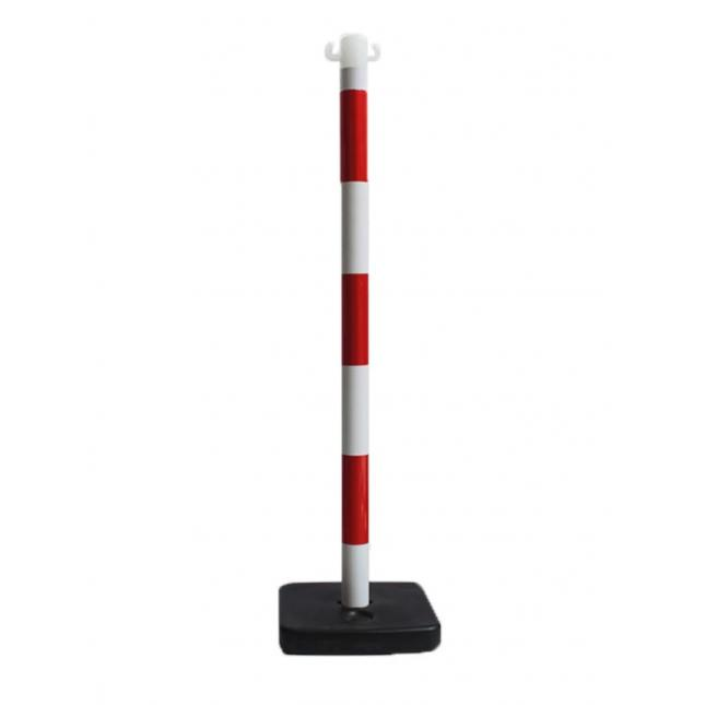 Red and white post and base for barrier set