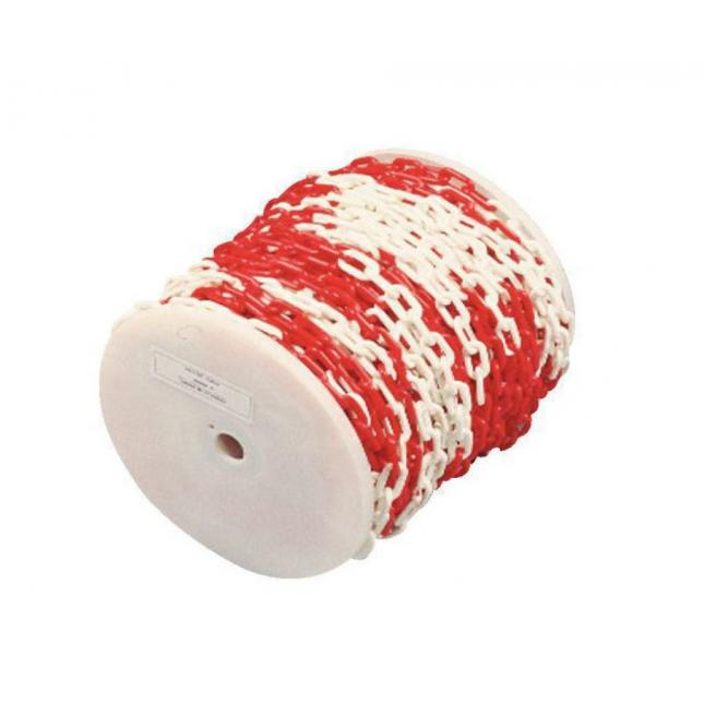Red and white plastic 25 metre chain