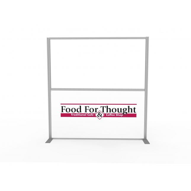 Part glazed acrylic screen with branding