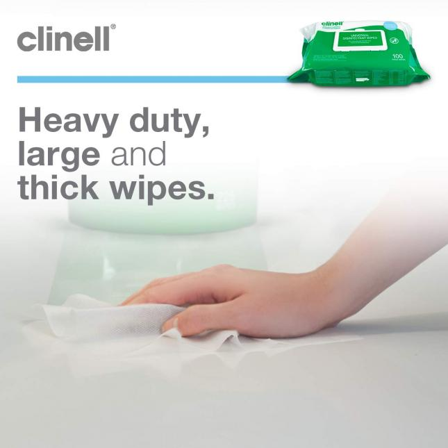 Clinell Universal Wipes in Use