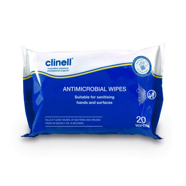 Clinell Antimicrobial Sanitiser Wipes