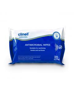 Clinell Antimicrobial Hand and Surface Wipes 20