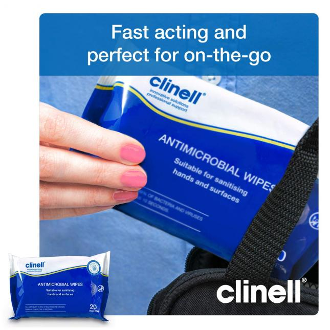 Clinell Antimicrobial Sanitiser Wipes compact size