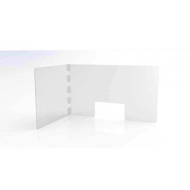 L shape simple perspex screen with envelope slot and no feet