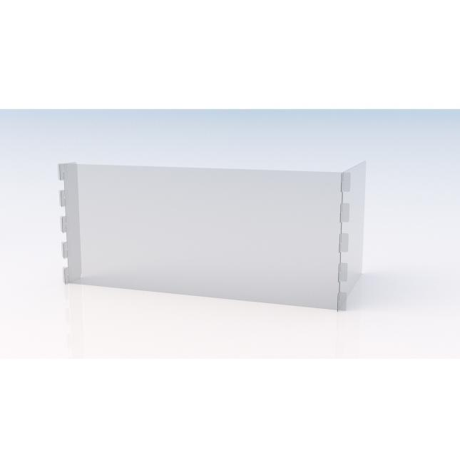 L shape simple perspex screen with end return and no feet