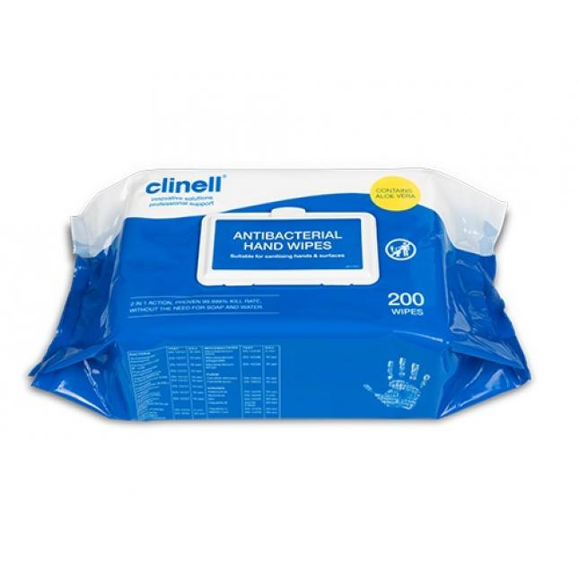 Pack of 200 Clinell Antibacterial Wipes