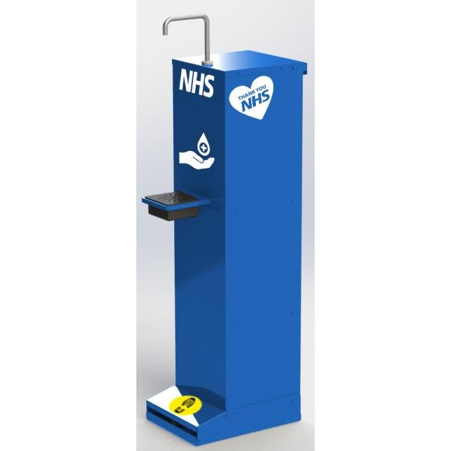 Foot operated sanitiser stand - custom branded