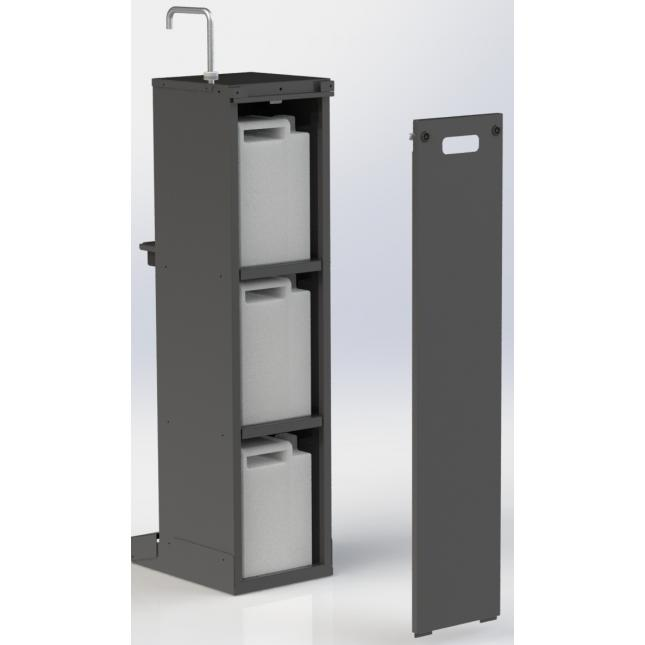 Lockable back panel for foot operated sanitiser stand
