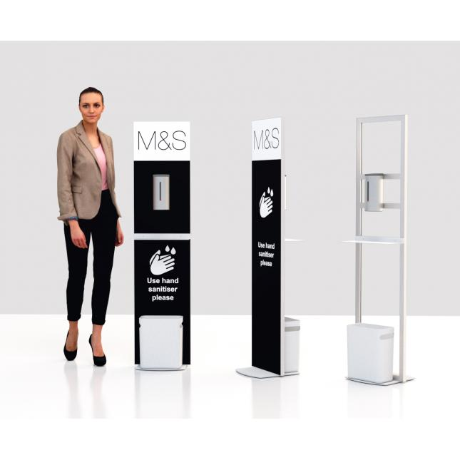 Sanitiser Hygiene stand with printed back panel
