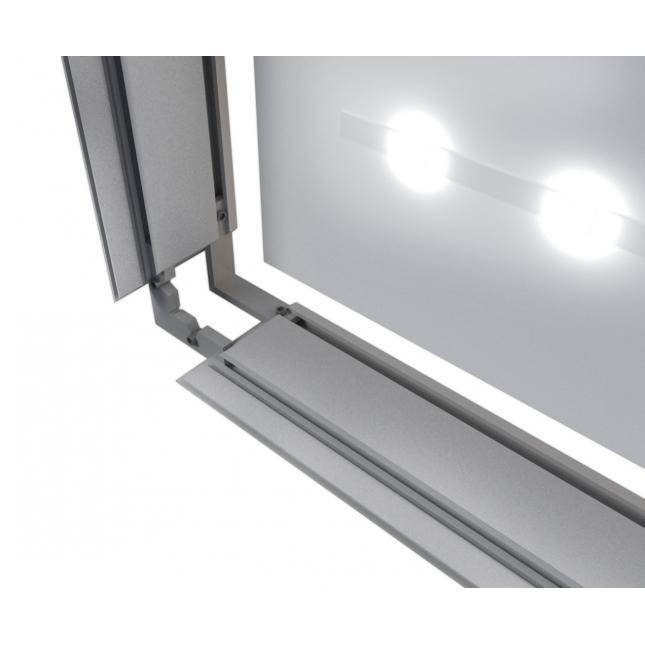 Close up of aluminium lightbox profile 80mm deep