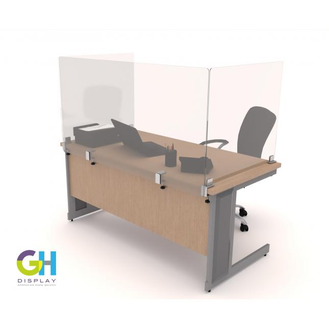 Single desk with acrylic screen