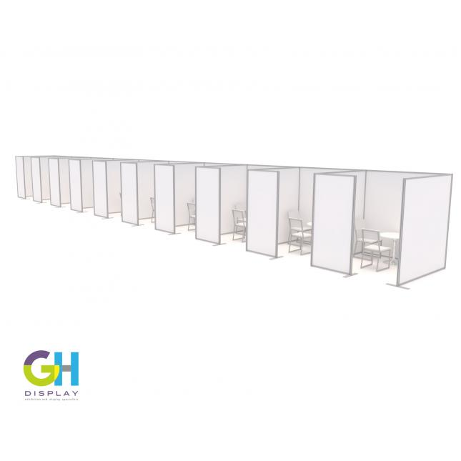 Row of Large COVID Vaccination Booths