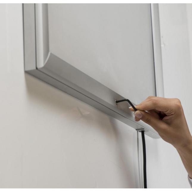 Lockable LED lightbox display frame