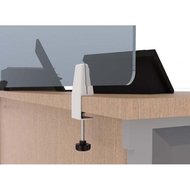 Close up of sneeze screen desk clamp