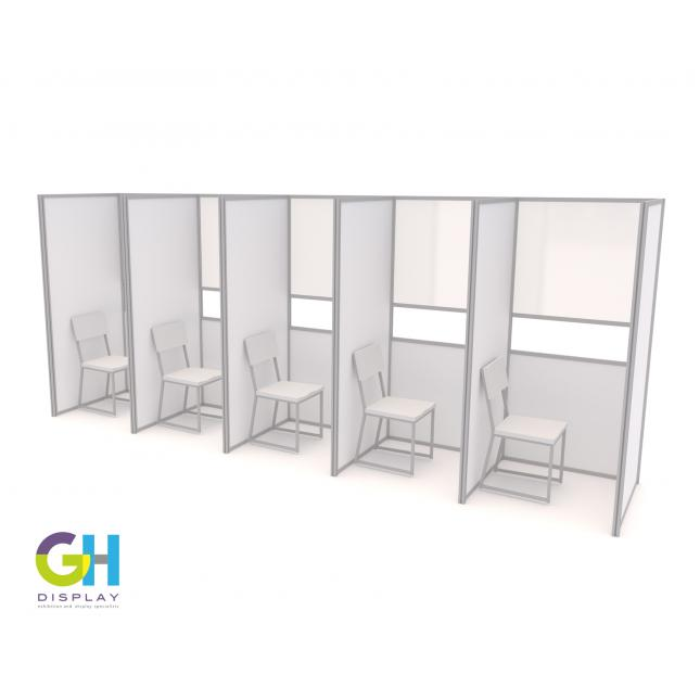 Compact Covid Testing Booths in a Row