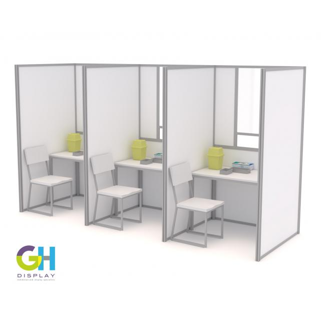 Row of 1.2m x 1.2m COVID Testing Booths