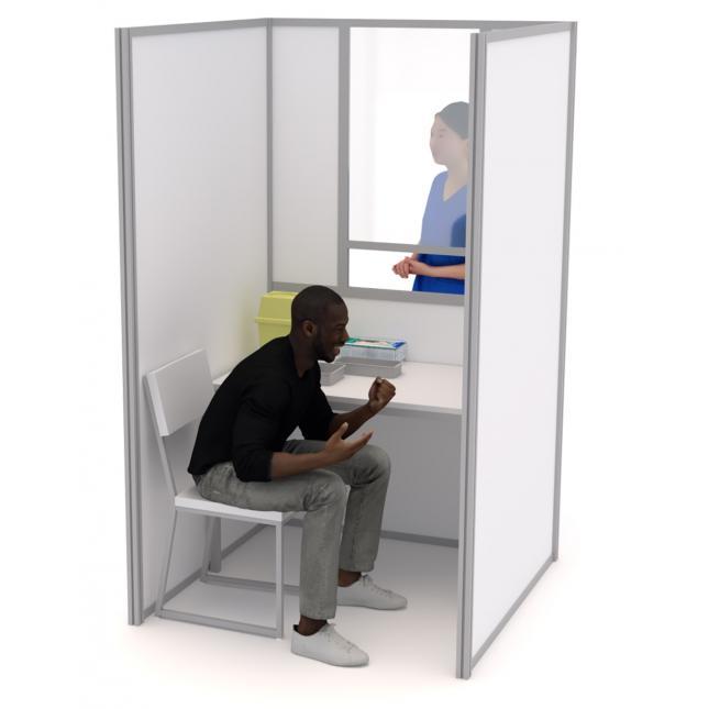 1.2m x 1.2 COVID testing booth