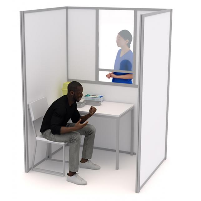 1.5m wide x 1.2m deep covid testing booth