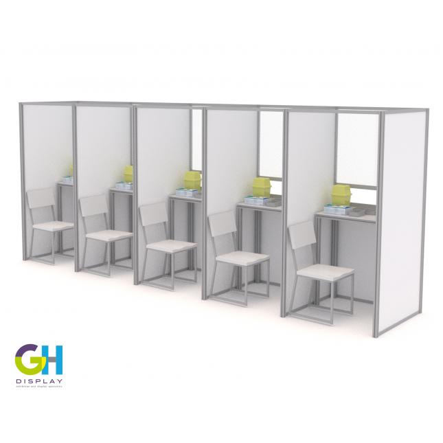 Row of COVID Testing Booths with table