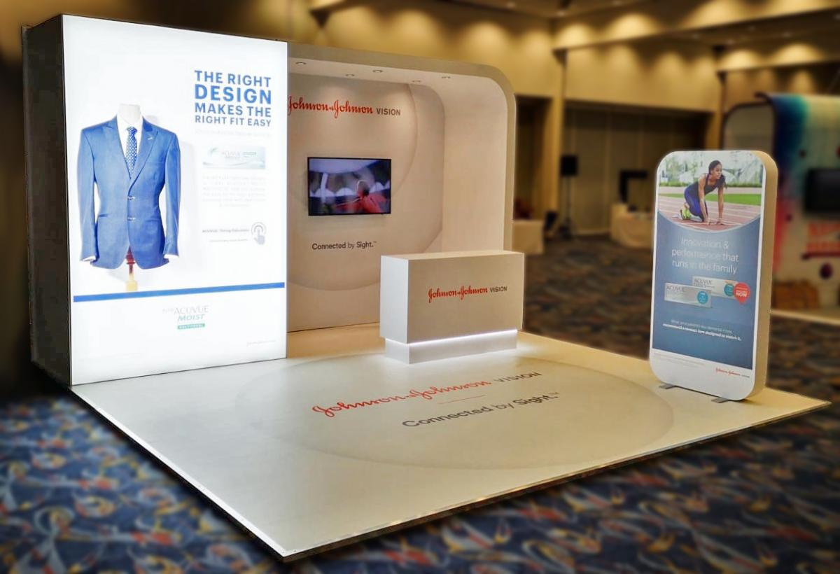 custom exhibition stand with lightbox display