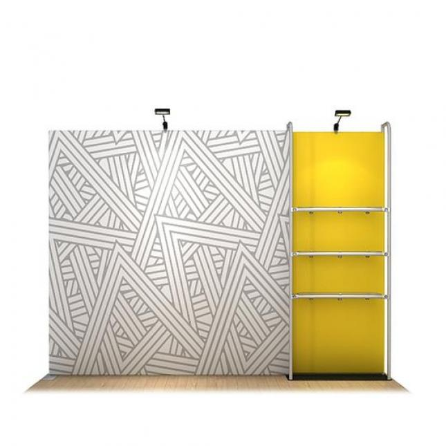 Point of sale display stand with additional fabric display wall