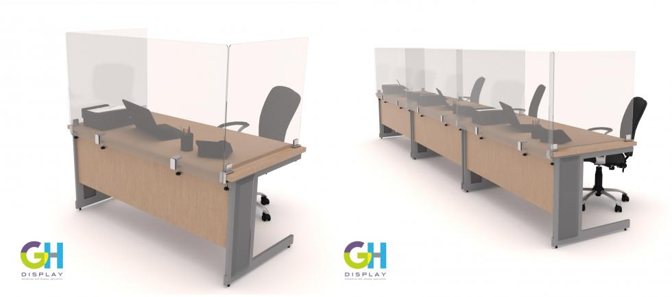 Desk Partitions and Protective Screens for Social Distancing in Offices