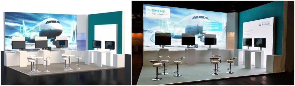 Custom exhibition stand for Siemens Aerospace