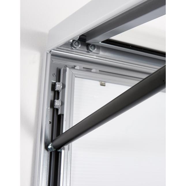 Gas strut opening for external lightbox display