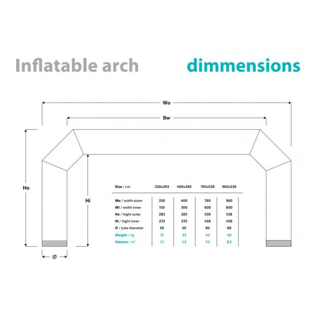 Inflatable arch dimensions specification sheet