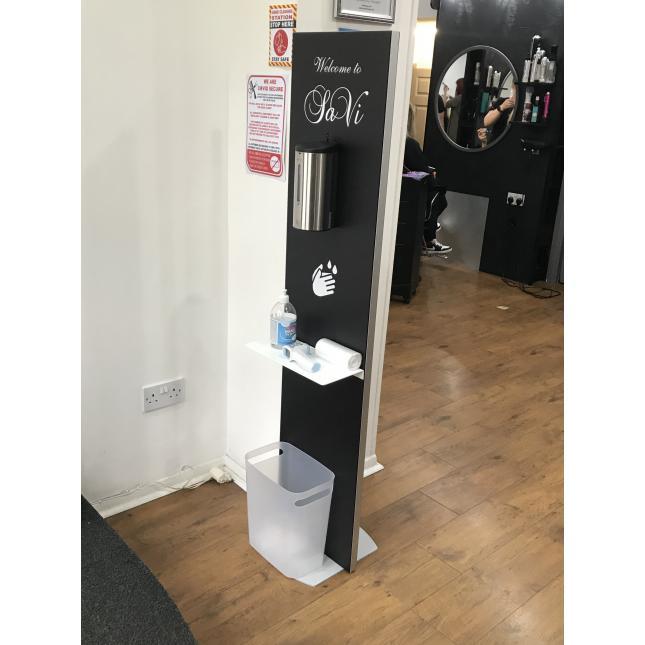 Sanitiser hygiene stand in hair salon