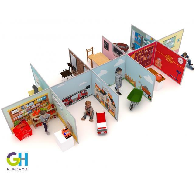 Children's play display walls