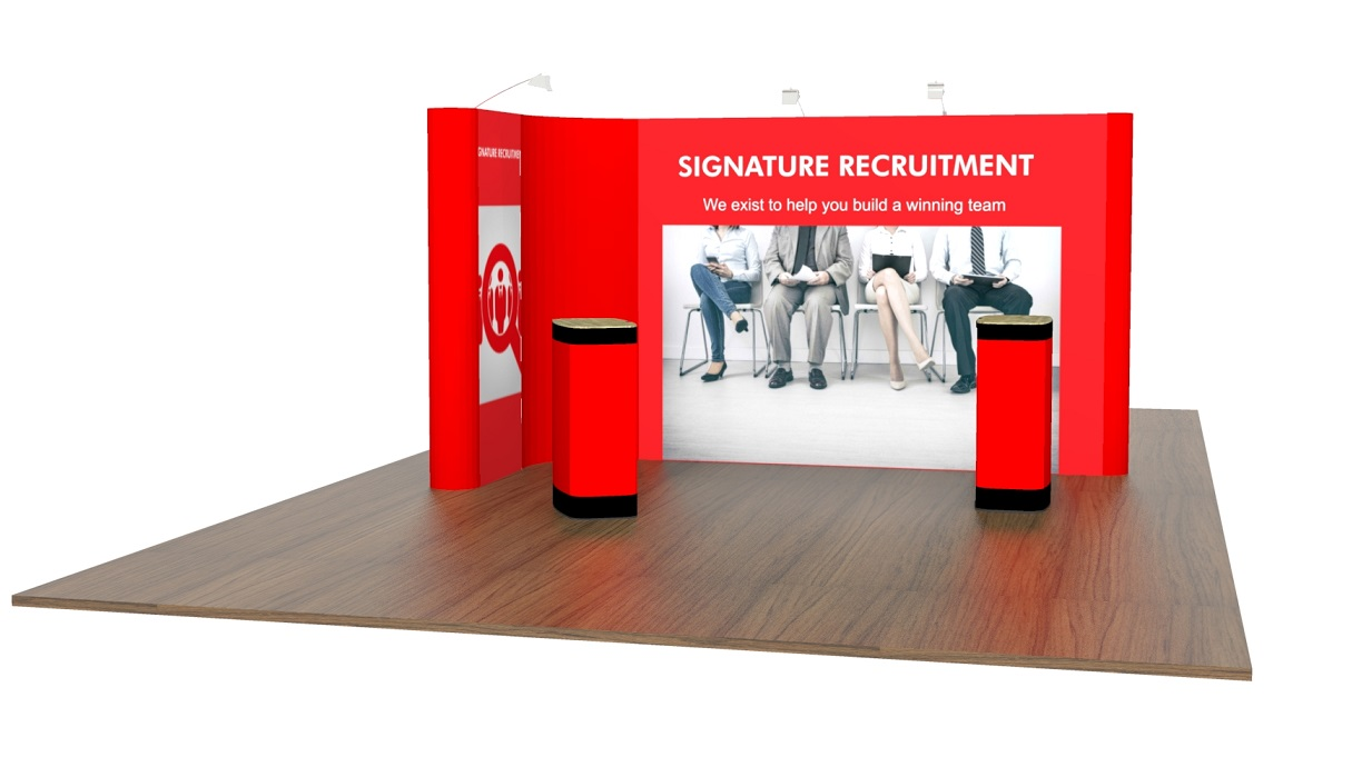 Sungard Exhibition Stand Here Alone : L shaped pop up exhibition stand modular